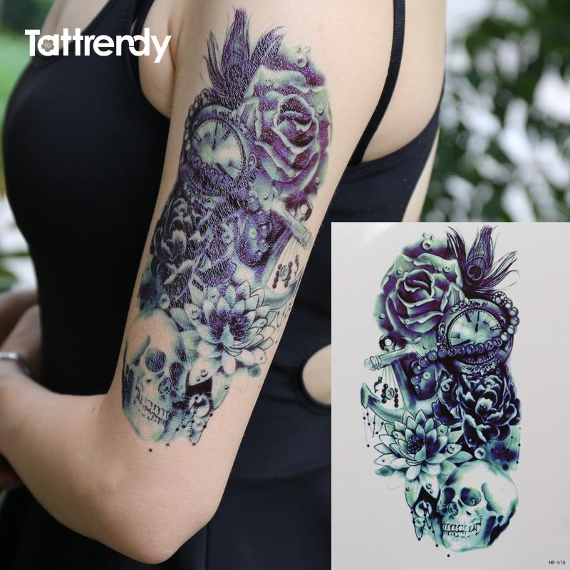 Skull Henna Tattoo: Death Skull Rose Feather Lotus Pirate Shoulder 3D Tattoo