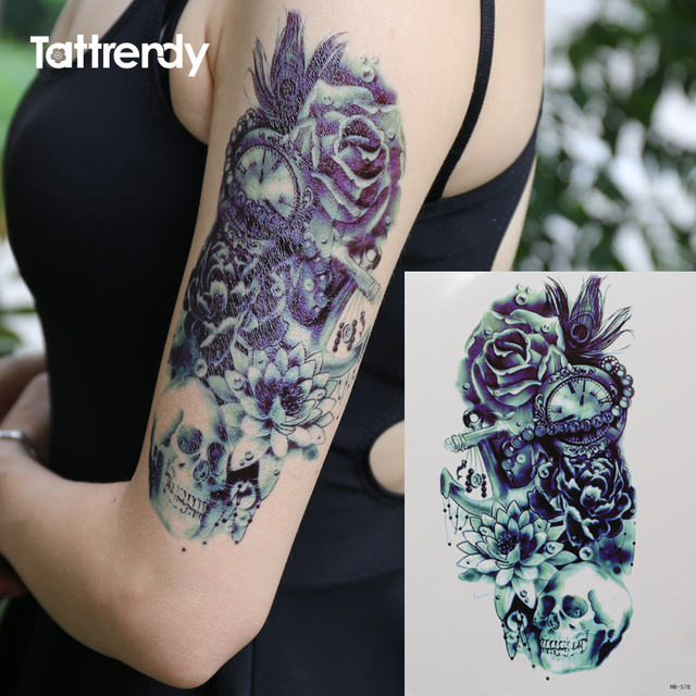 Death Skull Rose Feather Lotus Pirate Shoulder 3d Tattoo Waterproof