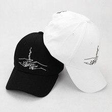 2017 New Brand Smoke Baseball Cap Dad Hat For Men Women Embroidery Hands Smoke Pattern Trucker Cap Weed Bone Golf Baseball Hat