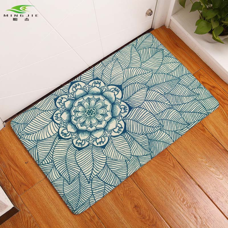 2017 NEW Bohemia Anti-Slip Waterproof Welcome Floor Mat Flower Carpets Bedroom Rugs Decorative Stair Mats Home Decor Crafts