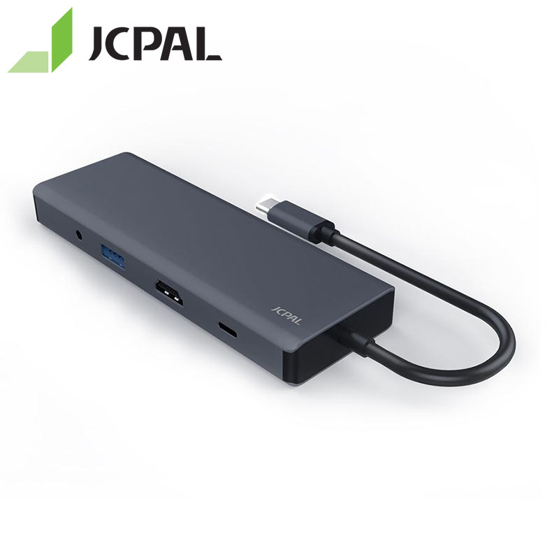 JCPAL USB-C HUB 9 en 1 type-c PD chargeur 60 W HDMI 4 K Lan RJ45 SD lecteur USB-C Station d'accueil coque en aluminium pour MacBook Pro