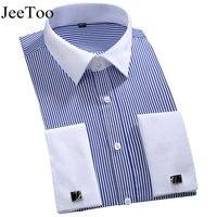 New Brand Mens Dress Shirts Long Sleeve French Cuff Men Shirt Slim Fit Mens Tuxedo Shirt