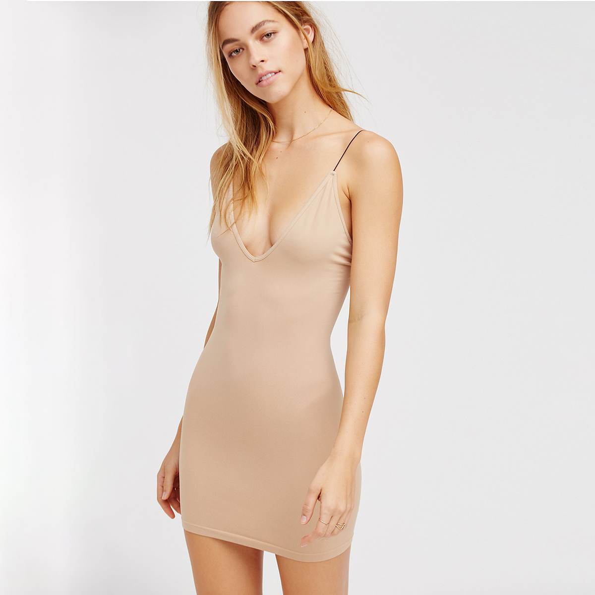 Invisible Nude <font><b>Sexy</b></font> Cami <font><b>Dress</b></font> 2019 Women <font><b>Deep</b></font> <font><b>V</b></font> neck Bodycon Slim <font><b>Dress</b></font> Underdress Ladies Retro <font><b>Sexy</b></font> Short Under <font><b>Dresses</b></font> Female image