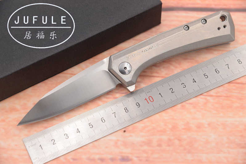 JUFULE 2018 ZT 0808 titanium handle D2 blade Ball Bearing Flipper camping hunting Pocket Survival EDC Tool Folding kitchen knife newest titanium folding knife tc4 handle d2 blade tactical survival pocket knife ball bearing flipper outdoor camping knife tool