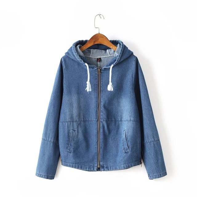 Free shipping casual women's fresh sweet lace stitching long-sleeved hat back zipper pocket loose denim jacket