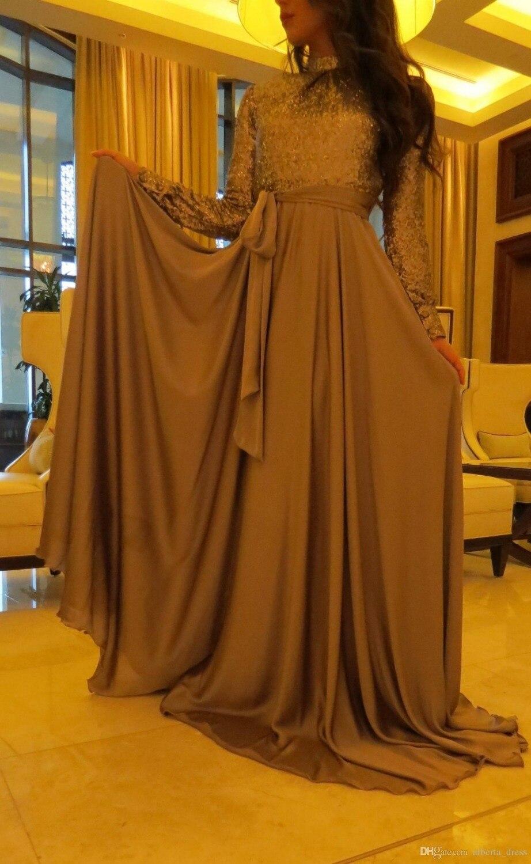 Gray Muslim   Evening     Dresses   2019 A-line Long Sleeves Chiffon Sequins Sparkle Islamic Dubai Saudi Arabic Long   Evening   Gown Prom