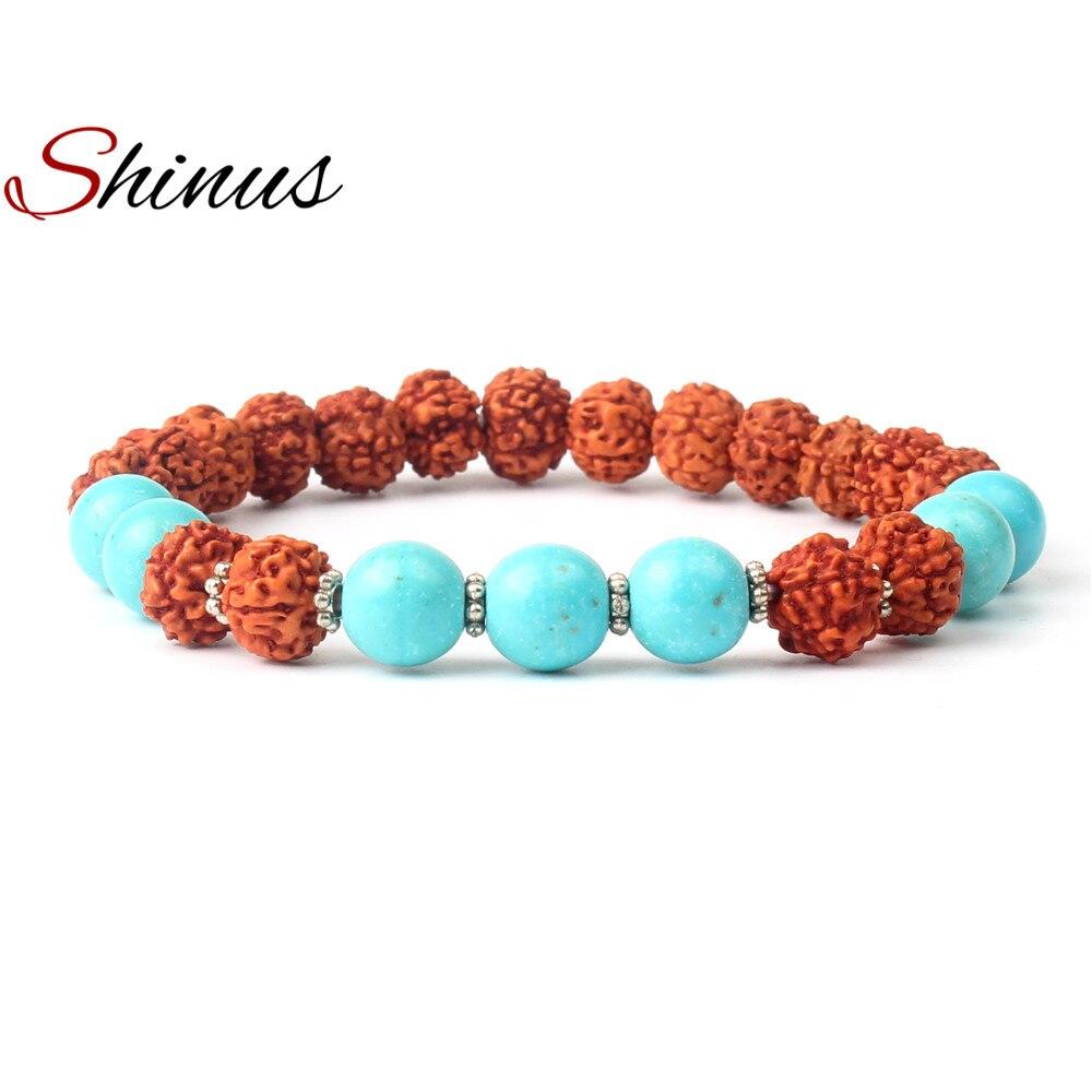 Shinus Rudraksha Bracelet Mala Beads Men Bracelets Women Gifts Chakra Meditation Jewelry Bohemian Boho Buddhism Yoga Healling