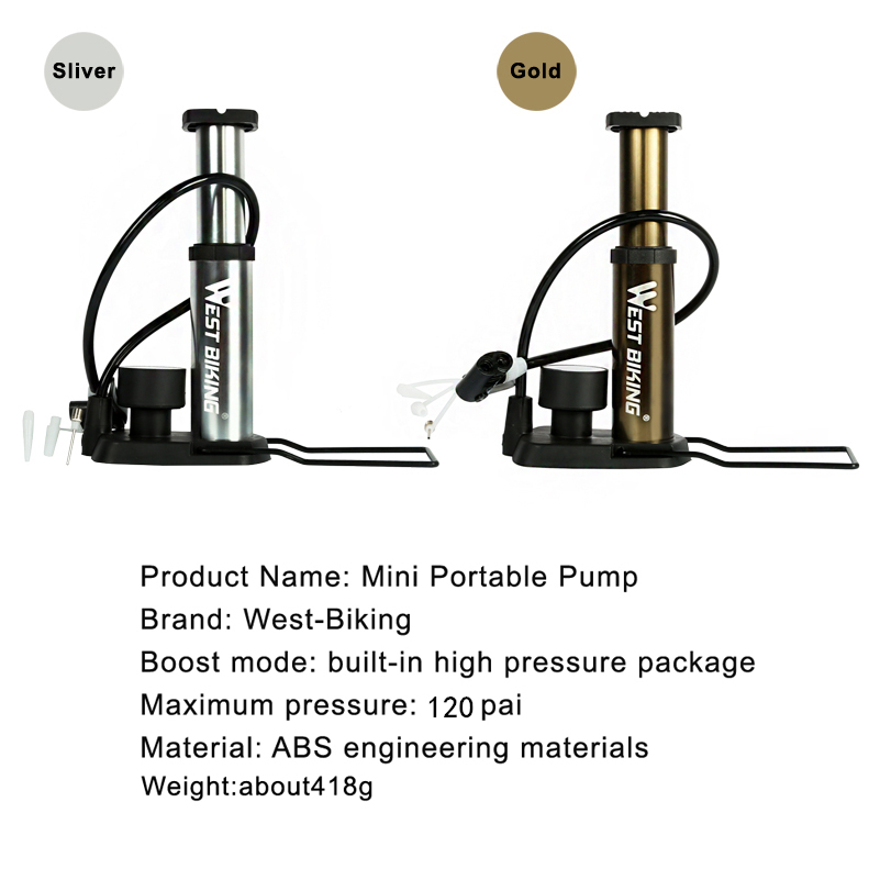 WEST BIKING Ultra-lagana MTB Bike pumpa Prijenosna pumpa s manometrom - Biciklizam - Foto 5