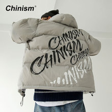 CHINISM Letter Printed Hooded Parkas Mens Winter Black Orange Gray Thick Warm Outwear Coats Loose Stylish Brand Hoodie Parkas