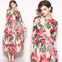 Dress Women 2019 Summer Chiffon Full Sleeve Long Boho Floral Print Maxi O Neck Bandage Elegant Dresses Vestido