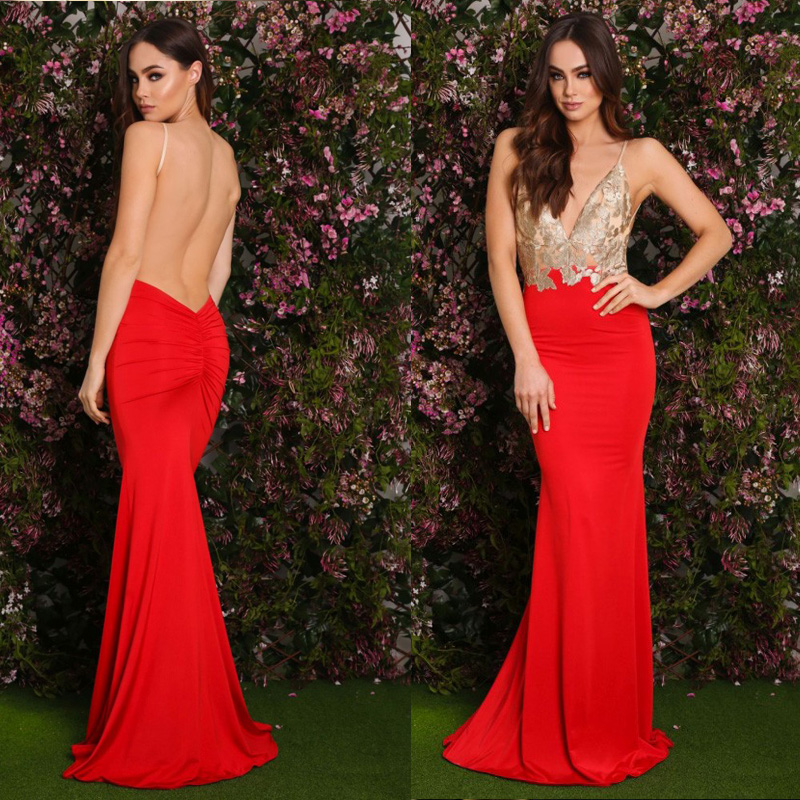 Deep cut maxi dress