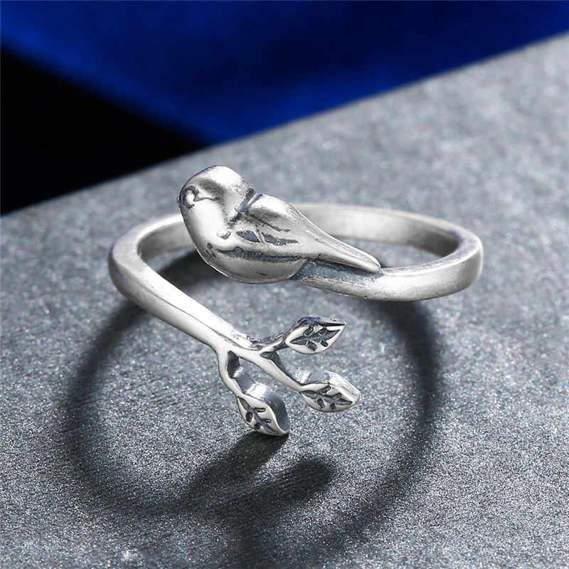 V. YA ที่ไม่ซ้ำกัน BIRD Leaves แหวนเงินแท้ 925 แหวนเปิด Retro ปรับนิ้วมือผู้หญิงหญิงเครื่องประดับ