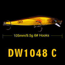 1pc Hot FLYBASS 105mm Minnow Lure 6# hooks Fishing Lure 6 color fishing tackle 10.5CM-4.2″/9.5G-0.34OZ fishing bait