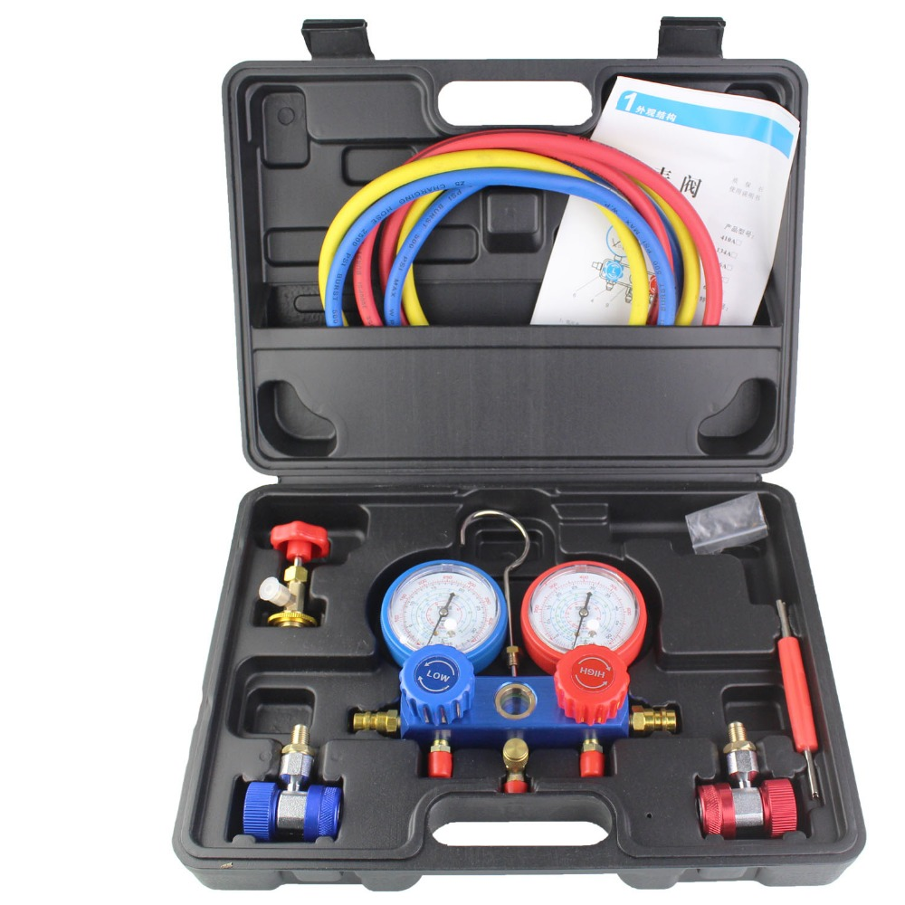 R134A Refrigeration Air Conditioning AC Diagnostic Manifold Gauge Tool Fits for R134A R410 R22 1set manifold gauge tool 0 10mpa charging for r134a r12 r22 r404z air condition refrigeration