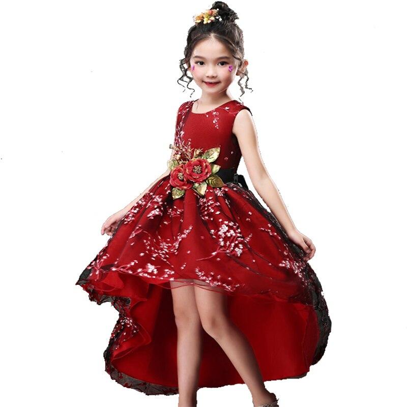 Baby Girls Flower Mullet Ball Gown Princess Dress Girl Kids Red Sleeveless Tulle Formal Dresses for Party Birthday Wedding BW012