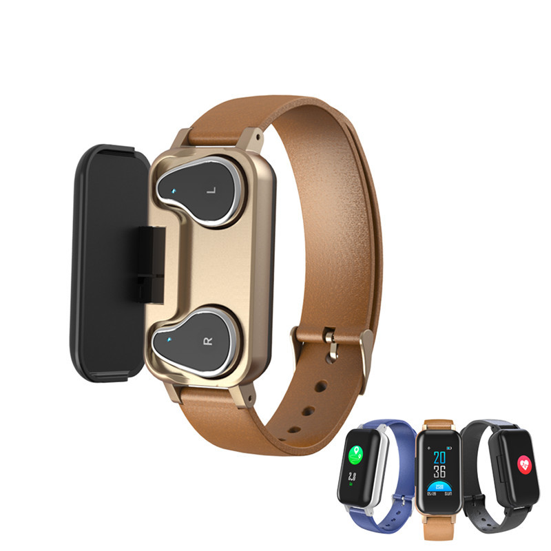 <font><b>T89</b></font> <font><b>Tws</b></font> Smart Binaural Bluetooth 5.0 Earbuds Wristband With Rate Monitor Smart Band Sport Watch Life Waterproof <font><b>TWS</b></font> Earphone image