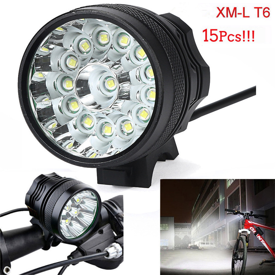 38000LM 15  XM-L T6 LED 6 x 18650 Bicycle Cycling Light Outdoor Sport Mountain Bike Waterproof Lamp cree xm l t6 bicycle light 6000lumens bike light 7modes torch zoomable led flashlight 18650 battery charger bicycle clip