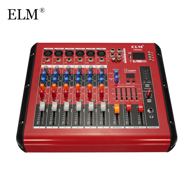 ELM Professional Bluetooth Karaoke Audio Mixer Amplifier 6 Channel Microphone Sound Mixing Console With USB 48V Phantom Power