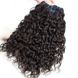 Image 4 - Alibele 髪マレーシアの水波バンドルと閉鎖 100 レミー人間の髪のバンドル閉鎖レミーの毛 3 バンドル閉鎖
