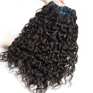 Image 4 - Alibele Hair malezyjski Water Wave zestawy z zamknięciem 100 Remy wiązki ludzkich włosów z zamknięciem Remy włosy 3 zestawy z zamknięciem