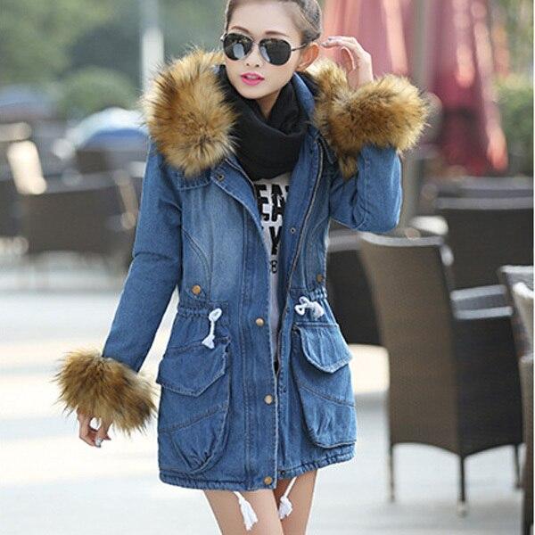 2015 Warm Jeans Jackets Woman Cotton Padded Coat Ladies Winter Faux