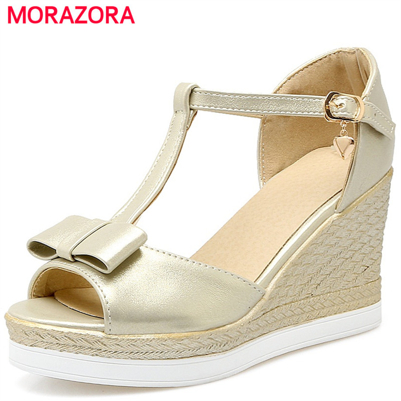 MORAZORA Sexy lady women high heel platform sandals shoes buckle fashion sweet summer shoes peep toe size 34-43 xiaying smile summer new woman sandals platform women pumps buckle strap high square heel fashion casual flock lady women shoes