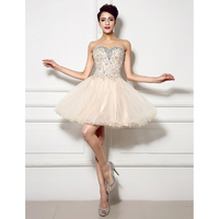 TS Couture A Line Princess Sweetheart Short Mini Lace Over Tulle Cocktail Party Homecoming Dress With