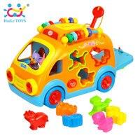 HUILE צעצועי 988 צעצועי תינוק צעצוע אוטובוס רכב שמח חדשני עם מוסיקה & אור & מתנות צעצוע חינוכי למידה מוקדמת ילדים בלוקים