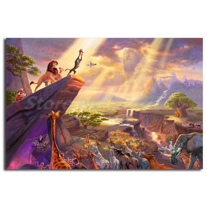 Lion King Simba Timoon /& Pumba Moonlight Giclee Canvas Picture Poster Art
