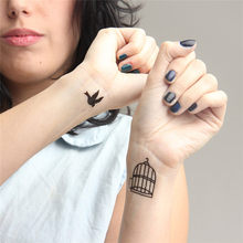 HC1060 Waterproof Fake Tattoo Stickers Lovers Arm Fast Tattoo Birds Cage Pattern Design Water Transfer Temporary Tattoos Sticker(China)