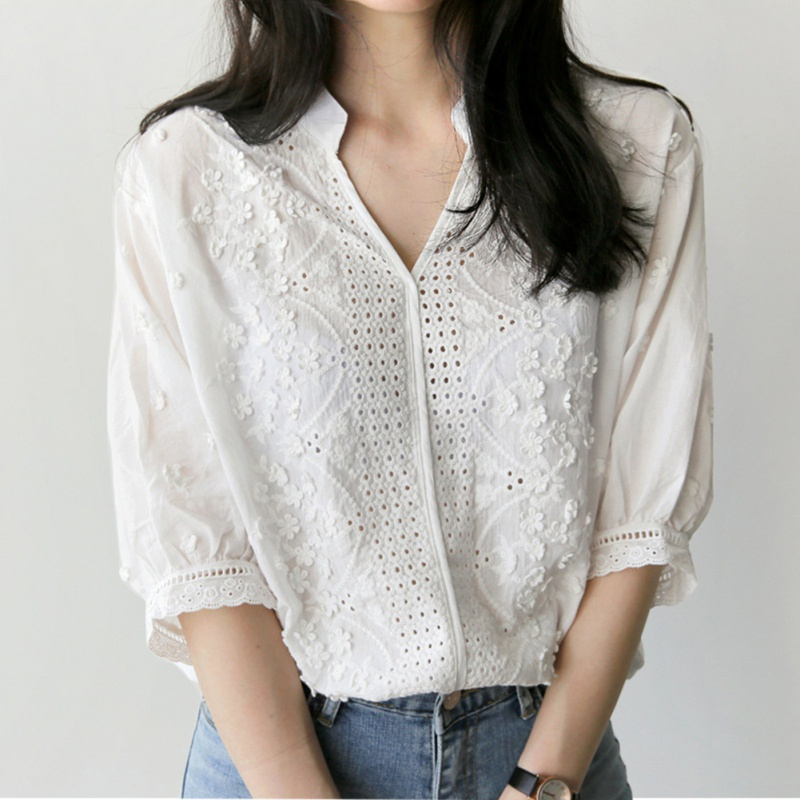 Fashion Women V Neck Hollow Out Loose White Shirts Long Sleeve Ladies Blouses Tops