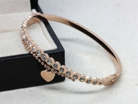 WLB0619 FreeShipping Fashion New Design stainless steel women bangles with heart and chain Unique Design bangle jewerly