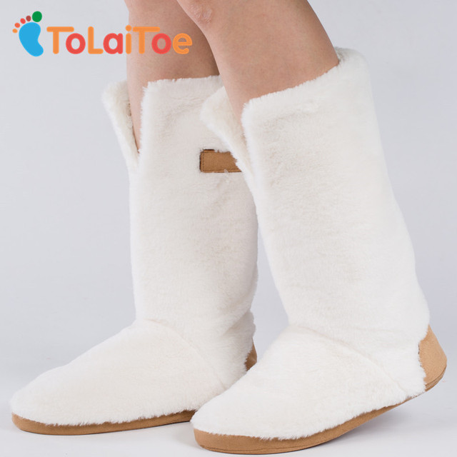 ToLaiToe Best Quality Warm Home Shoe Floor Soft Sole Long Boots Super Nubuck Leather Indoor House Shoes 3D Long Socks Many Style