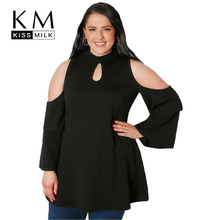 Kissmilk Women Plus Size Hollow Out Cold Shoulder Ruffled Sleeve Shirt Long Sleeve Solid Color Basic Shirt Big Size Casual Shirt plus size long sleeve embroidered cold shoulder t shirt
