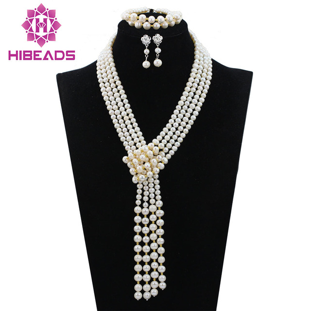 Graceful 4 Layers White Freshwater Pearl Wedding Necklace Set Fashion Pearl Beads Jewelry Set Events&Party Free Shipping FP166