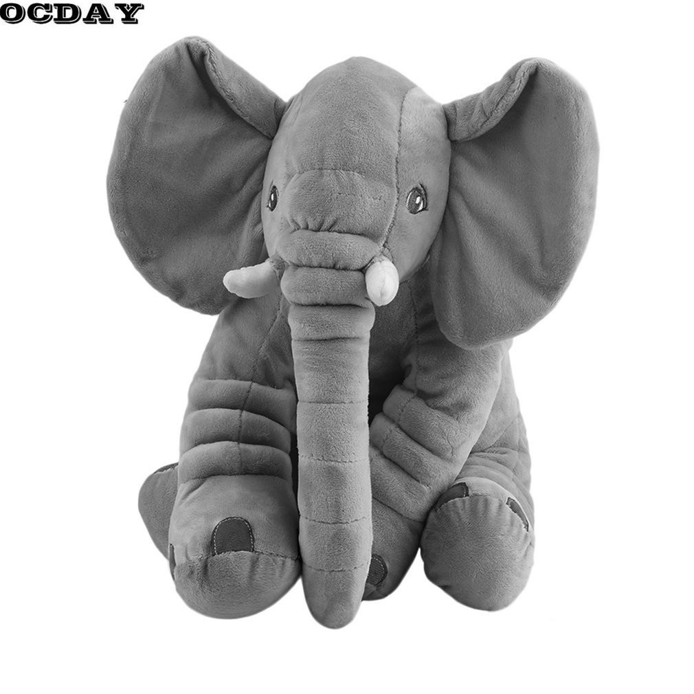 OCDAY Cartoon 60cm Large Plush Stuffed Elephant Toy Kids Sleeping Back Cushion Pillow Elephant Baby Doll Birthday Gift for Kids lucky boy sunday 60cm elephant plush toy cute big size stuffed kids toy baby elephant pillow girlfriend children christmas gift