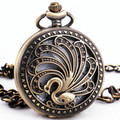 Floral Vintage Retro Copper Unisex Womens Quartz Pocket Watch Peacock Embossed Hollowed Lid Short Chain Pendant