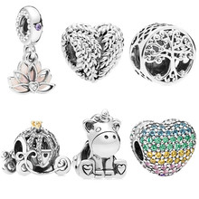 Vintage Punk Silver 925 Unicorn Lotus Mouse Love Zircon Charms Beads Fit Pandora Bracelets Necklaces for Women Making(China)