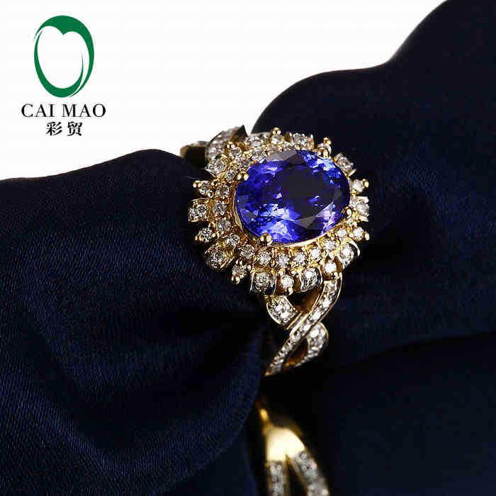 купить CaiMao 18KT/750 Yellow Gold 2.31 ct Natural IF Blue Tanzanite AAA 0.5 ct Full Cut Diamond Engagement Gemstone Ring Jewelry по цене 66311.16 рублей
