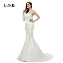 Full Sexy Mermaid Wedding Dress Real Photo 2016 Vestido De Noiva One Shoulder Long Sleeve Elegant Women Lace Bridal Gowns Custom