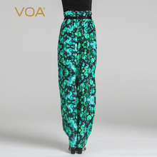 Summer Green Print Silk Harem Pants Spring New High Waist Bohemian Women Pants