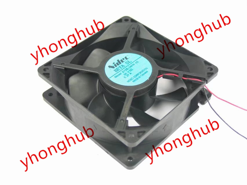 Free shipping for Nidec D12E-24PH, 05 DC 12V 0.27A, 120x120x38mm 2-wire Server Square fan free shipping original new nidec h60t12bs2a7 53 6025 6cm 12v 0 35a ultra durable fan