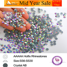 Crystal AB DMC Hotfix Rhinestones Flatback Hot Fix Strass Iron On For Clothes DIY Design 1440pcs/Packs SS4 To SS40