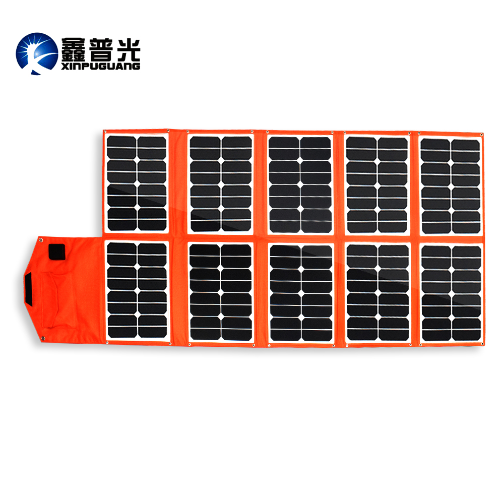 Xinpuguang 150W 16V Solar Charger 10 Folds Orange PV Module Portable Solar Panel 12V Battery USB DC Output Phone Pad Computer