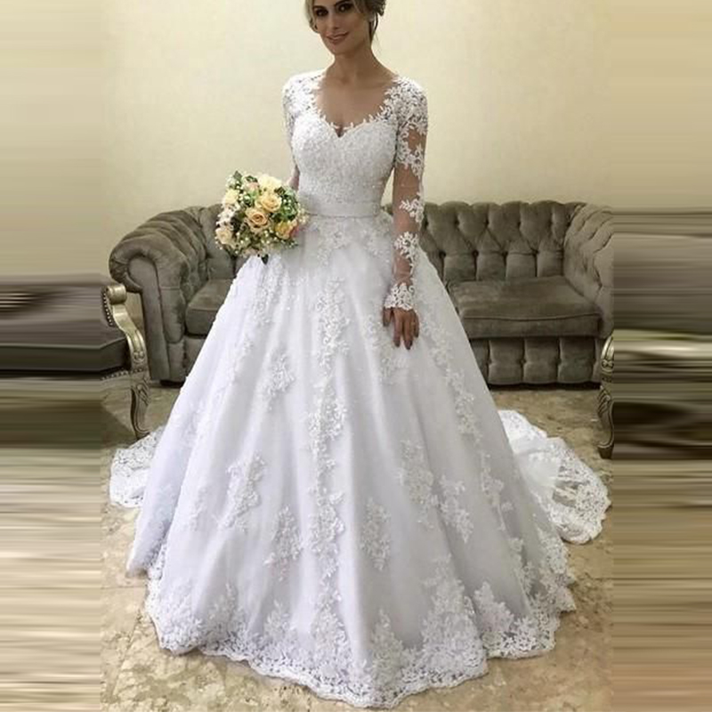 robe mariage Lace 2019 Appliques Long Sleeves Wedding Dresses Illusion Scoop Neck Court Train Bridal Wedding