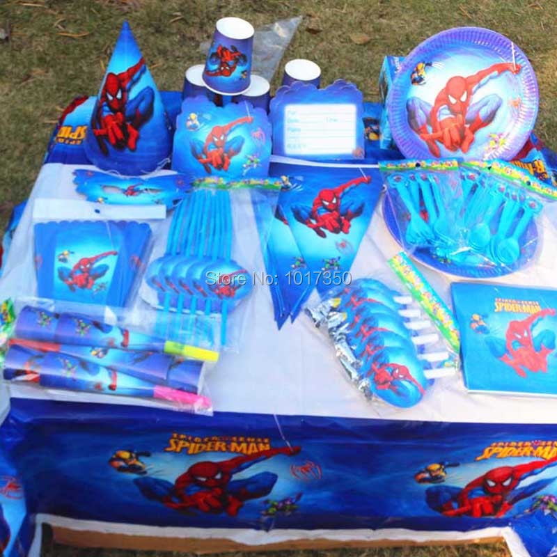 kids birthday party decoration supplies cartoon table covers spiderman popcorn box gift box pary favors tableware - Party Decoration Stores