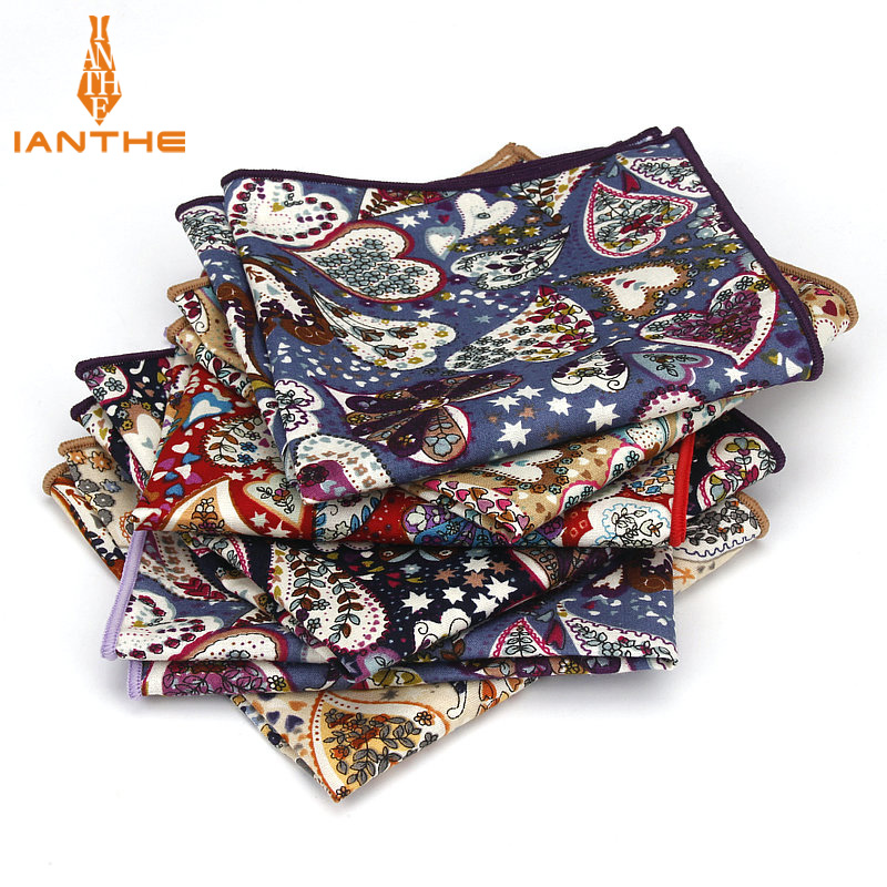 Luxury Men's 100% Cotton Paisley Vintage Pocket Square For Man Classic Handkerchief Hankies Suits Wedding Print Towel 25cm*25cm