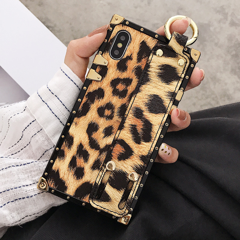 Luxury brand Square Leopard print rose flower case for iphone 7 8 6 6s plus girl women phone case for iphone X XS Max Xr cover (6)