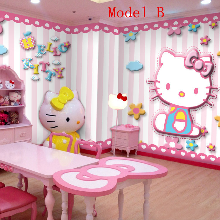Hot Hello Kitty Photo Wallpaper Catoon Non Woven Wall Mural For Kids Wall  Print Decal Hoom Decor 6 Models In Wall Stickers From Home U0026 Garden On ... Part 82