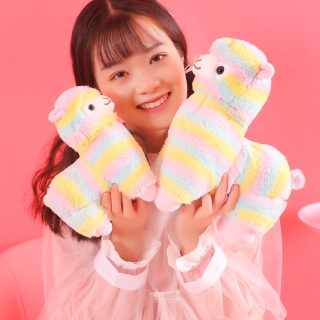 1 pc 20 cm Rainbow Vicugna Pacos Alpaca Brinquedos de Pelúcia para As Crianças Japonês Alpacasso Pelúcia Macia Do Bebê Bichos de pelúcia Alpaca presentes